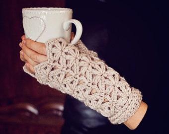 Crochet PATTERN - Flower Fingerless Gloves (adult and child sizes)