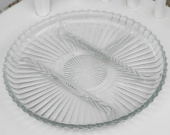 Relish Tray Glass Divided Platter Serving Plate Scalloped Edge Vintage