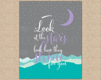 Look at the Stars, Star Nursery, Coldplay Poster, Kid's Playroom Art, Baby Shower Gift // Choose Art Print or Canvas // N-XF04-1PS AA1