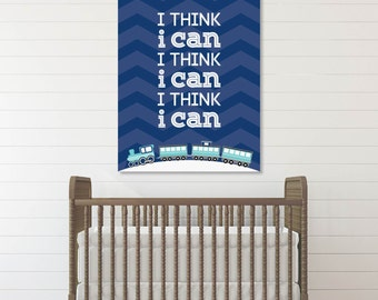 I Think I Can Train Kid's Playroom Art, Nursery Art, Transportation Decor // Choose Art Print or Canvas // N-XT07-1PS AA1