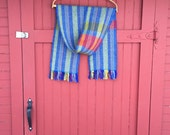 Blanket Scarf in Blue and Red