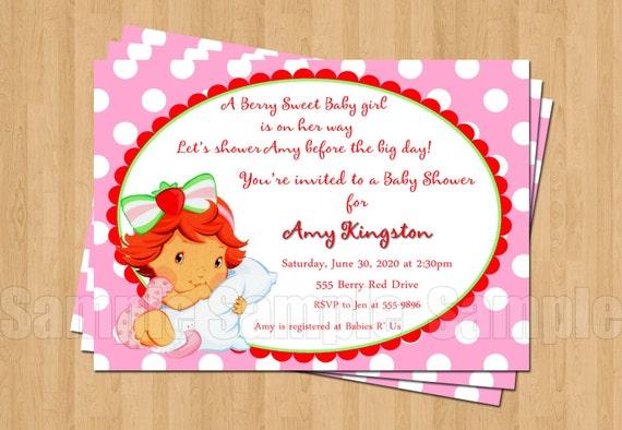 strawberry shortcake baby shower invitations jpeg cute unique adorable