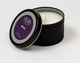 Muse by Aura Candles...Vanilla Orchid, Tobacco Flower,  Amber 6oz Travel Tin // 35 hour burn time (approx.)