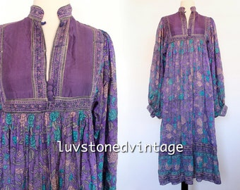 Rare 70s Vintage Phool Indian Pure Silk Gypsy India Hand Blocked Festival Tent Midi Maxi Dress . SM . 966.5.12.15