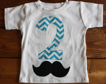 2nd Birthday Shirt, Mustache Birthday Party, Birthday Shirt for Boys, 2nd Birthday Outfit, Chevron Birthday, Ready to Ship Birthday Shirt