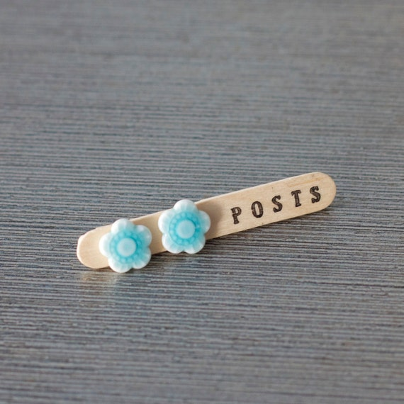 Porcelain flower post earrings
