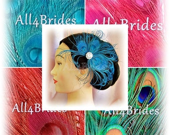 Peacock feather hair clip, turquoise, red, fuchsia pink or natural feathers, peacock wedding bridal or bridesmaids hair clip