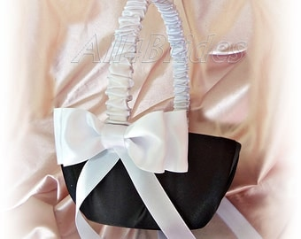 Black and white wedding flower girl basket.