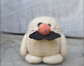 Needle Felted Cashmere Wool Yeti in Mustache Disguise Toy Ready to Ship