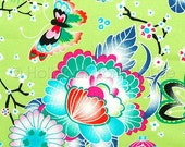 Cotton floral fabric, flowers cotton fabric, floral fabric, green fabric, Sakura Collection Cherry Blossoms Fabric in Lime