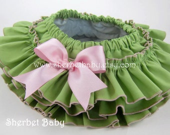 Green & Pink All Around Ruffle Bloomer Skirt Tutu with Bow Girl Baby Toddler