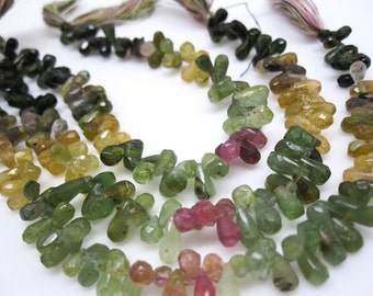 Watermelon Tourmaline Briolettes Beads, Faceted Teardrops Briolettes, Multi Color Gemstone, Weddings, Brides Bridal, SKU 4472A