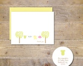 Baby Shower Thank You Cards, Baby Girl Thank You Card, Baby Boy Thank You Card, Baby Thank You Cards, Clothesline, Onesie - Baby Clothesline