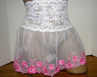 Pretty Girl / Crossdresser Frilly Sheer Skirt Slip for your Sissy Panties Sizes XS S M L XL XXL