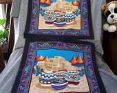Decorative Throw Pillow Covers, SW Navajo Pots N Pueblo Design, Set of 2