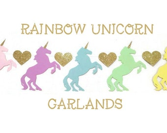 Rainbow Unicorn Garland, Unicorn Banner, Unicorn Birthday, Unicorn Party