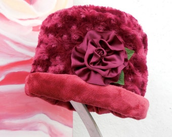 FALL Collection....SOFT COZY Warm Rich Burgundy Reversible Winter Fabric Hat and flower pin....