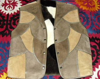 Gorgeous Vintage Jacques Jekel  Paris Patchwork Sheep Skin Shearling Vest sz XL