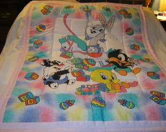 Baby 1990's Looney Tunes Girl Cotton Baby/Toddler Quilt-Newly Made 2016