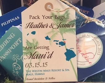 Destination Wedding Invitation Save the Date Luggage Tag Magnet or Cardstock. DEPOSIT: Hawaiian palm tree design.