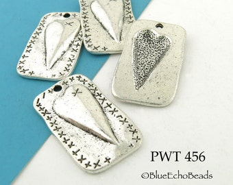 27mm Folk Art Style Heart Charm Rectangle Pewter Charm (PWT 456) BlueEchoBeads 4 pcs