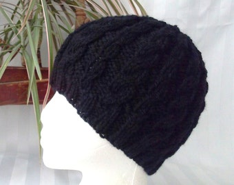 Classic Black Hat. Winter Knit Hat. Wool/Acrylic Black Cable Beanie. Basic Black. Beanies for Men. Womens Hats. Mens Hats. Mens Gifts.