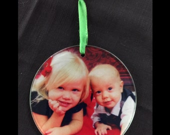 Custom Glass Photo Ornament (Great for any Special Occation)
