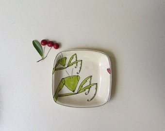 Ceramic insect dish, small praying mantis dish, secret admirer gift for her under 20
