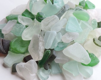 Bulk of Craft quality Medium THICK SEAGLASS Lot of 12 pcs / For crafts and jewelry / M 82