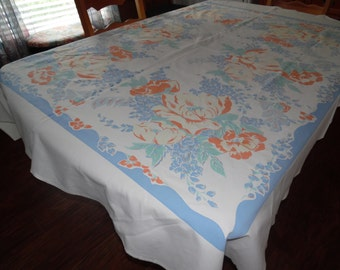Vintage Tablecloth Lovely Colors 60 X 68 Inches SVFT ECS Reduced