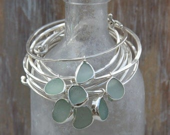 Sea Glass Bangle Bracelet with Bezel Seaglass Pendant Sterling Silver