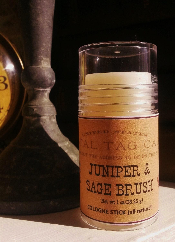 Solid cologne stick juniper sage brush sawdust pine cedar