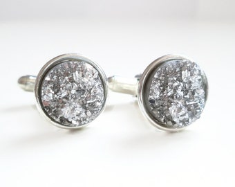 Druzy Cufflinks in Silver - For Him - Groomsmen Gift - Groom - Father's Day