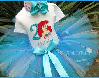 Ariel Little Mermaid with Number, Mermaid Princess, Ariel  Party Outfit, Personalized, Theme Party, Princess Parties