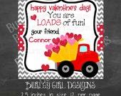 LOADS of Fun Chevron Dump Truck Tags - DIY - Digital FIle - Valentine's Day Tag