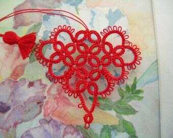 Valentine Tatting Red Heart Bookmark Seasoned With Love