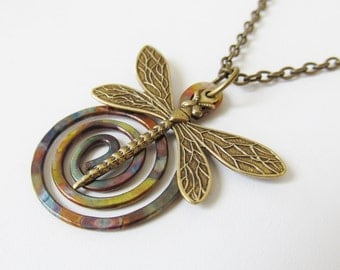 Hammered Copper Pendant Necklace with Dragonfly, Torch Painted, Wirework Jewelry
