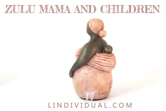 zulu mama and children fertility goddess statue doula. Black Bedroom Furniture Sets. Home Design Ideas
