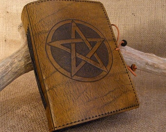 A6, Standard, Leather Bound Journal, Pentagram Journal, Pentacle Notebook, Brown Leather, Book of Shadows, Wiccan Journal, Personalized.