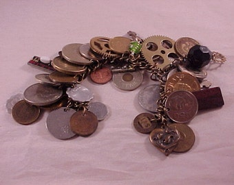 Altered Art Chunky Charm Bracelet - Free Shipping to USA
