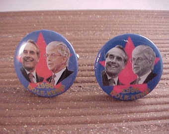 Dole Kemp Political Cuff Links - Vintage Campaign Buttons - Free Shipping to USA