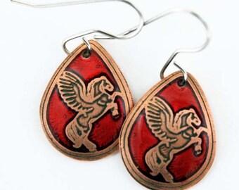 Pegasus copper tear drop earrings