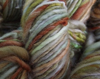 Handspun yarn, Hand painted handmade BFL wool yarn, worsted, thick and thin-Spring Chicken