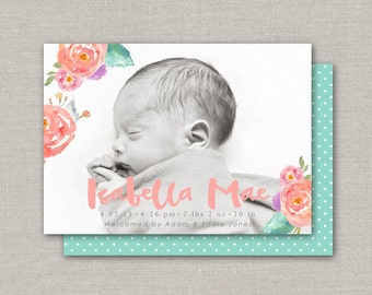 Baby Girl Birth Announcement - Isabella