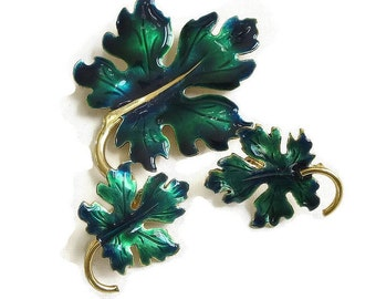 Vintage Green Enamel Leaf Brooch and Earrings Set