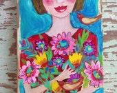 Flower Girl Acrylic Painting on Reclaimed Wood