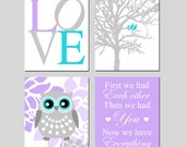 Baby Girl Nursery Art Quad - LOVE, Birds in a Tree, Floral Owl, First We Had Each Other - Set of Four 8x10 Prints - Choose Your Colors