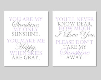 You Are My Sunshine Nursery Art Set - Nursery Quote Decor - Set of Two 11x14 Prints - CHOOSE YOUR COLORS - Shown in Lavender and Gray