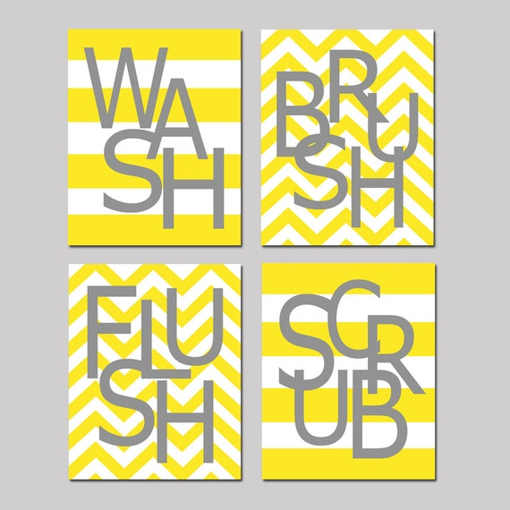 Kids Bathroom Art Set - Wash, Brush, Soak, Splish, Splash, Flush, Floss, Scrub - Set of Four 8x10 Chevron Stripe Prints - CHOOSE YOUR COLORS