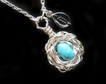 Personalized Initial Bird Nest Necklace with ONE OR TWO  Turquoise Gemstones  in Sterling Silver Monogrammed Stamped Leaf Charms